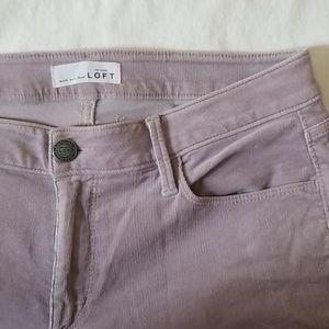 LOFT   curvy skinny lilac stretch corduroy pant